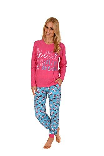 Normann Damen Pyjama mit Rundhals, Langarm, Cupcakes, Bündchen, Pink/Türkis, 57903, Gr. M 40/42
