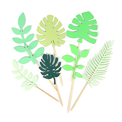 14Pcs Glittery Tropical Leaves Cake Topper Tropical Greenery Cake Topper Palm Leafes Party Supplies for Jungle Hawaiian Theme Birthday Party Decor Safari Baby Shower Decor