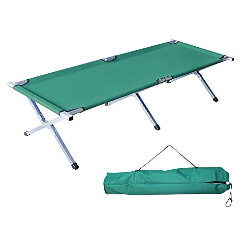 Homevibes Folding Lightweight Bed & Portable Camping Cot with Carry Bag for Adults Hiking Hunting Traveling, Green