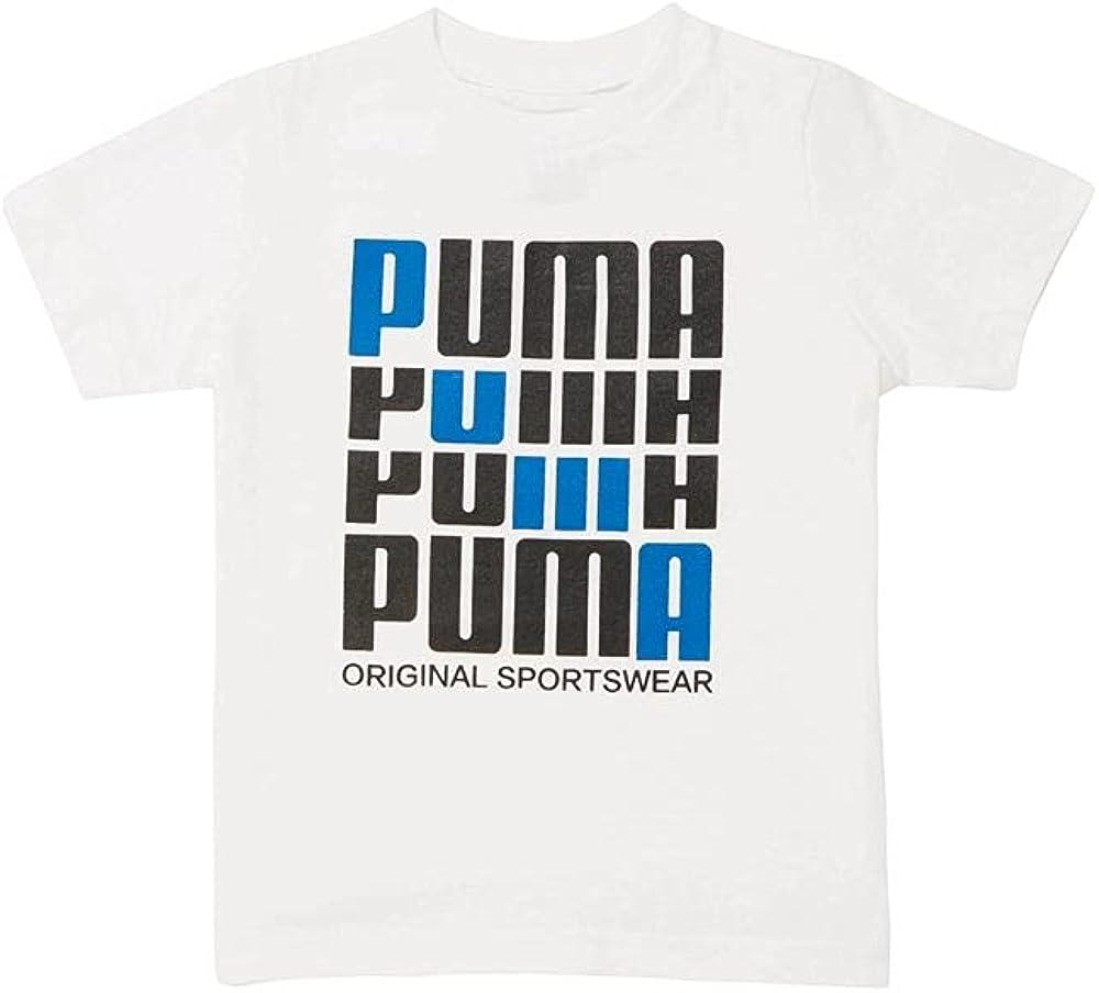 PUMA Toddler Boys Screen Printed Cotton Jersey Tee Top - White