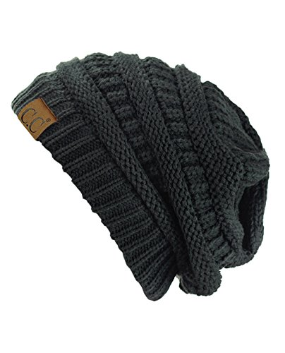 C.C Trendy Warm Chunky Soft Stretch Cable Knit Beanie Skully, Charcoal