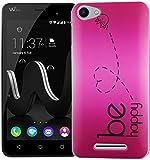 König Design Handy-Hülle kompatibel mit Wiko Jerry Silikon Hülle Hülle Sturzsichere Back-Cover Handyhülle - Be Happy Design Pink