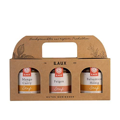 LAUX Senf Trio Geschenkset 3x130ml (Mango Curry Senf, Feigen Senf, Balsamico-Honig Senf), tolles Geschenk