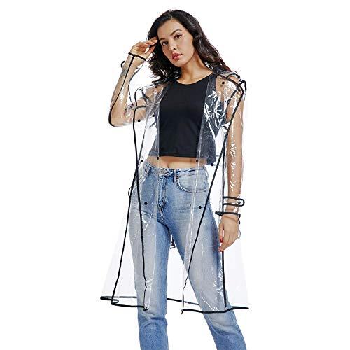 Waterproof Raincoat Lightweight Packable Raincoat Transparent Rain Ponchos Rainwear Women (Black, L)