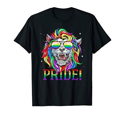 LGBT Gay Pride Regenbogen Flagge Rainbow Löwe LGBTQ T-Shirt