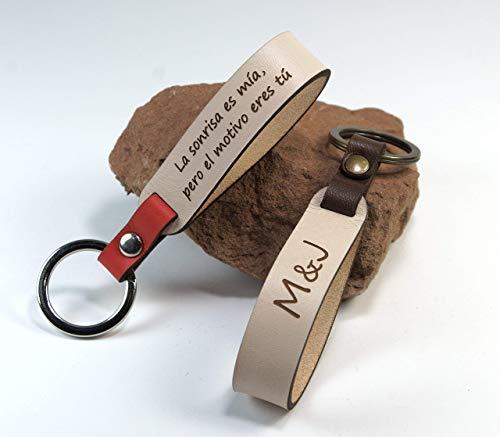 Llaveros de cuero personalizados (pack 2 uds) ideal parejas, San Valentín, aniversarios.