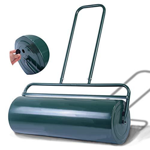 DREAMADE 63L Rasenwalze aus Stahl, Walze mit Wasserfüllung & Sandfüllung, Handwalze mit U-förmigen Griff, Gartenwalze mit 112 cm Arbeitsbreite, Gewicht mit Sandfüllung 110 kg & Wasser 75 kg