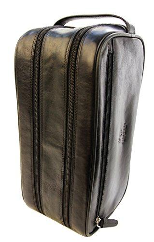 Visconti necessaire da viaggio in pelle per cosmetici da uomo'Heritage' Luxury Leather Travel Kit (HT100): (nero (black))