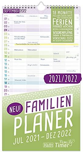 FamilienPlaner 2021/2022 mit 5 Spalten, 23 x 42 cm   Wandkalender für 18 Monate: Jul 21 - Dez 22   Familienkalender Wandplaner: Ferientermine & viele Zusatzinfos   klimaneutral & nachhaltig