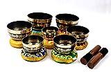 Bermoni Set tibetano con 7 campane cantate con occhi di Buddha per la preghiera di guarigione, yoga con maglio e cuscino (SING-1116BSET7)