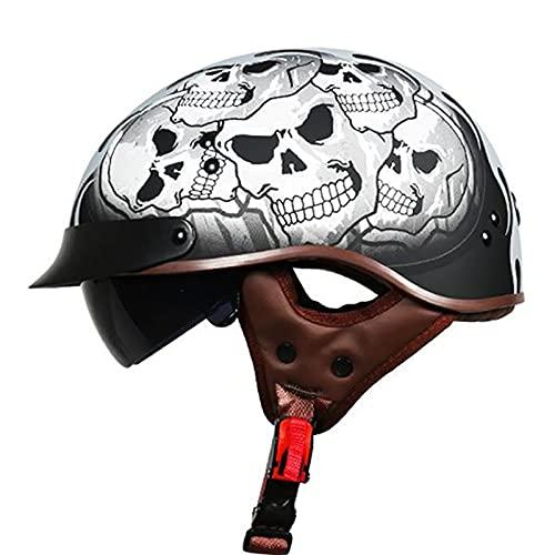 Cascos Moto Cascos Half-Helmet Abierto Medio Casco e Motocicleta Retro con Visera Cascos Vintage Style Helmet ECE Homologado para Andar en Bicicleta en Bicicleta D,XL=61~62cm