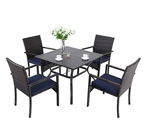 "PHI VILLA 5 Piece Patio Dining Sets, 37' Square Outdoor Metal Table with 1.57"" Umbrella Hole & 4 Rattan Wicker Chair for Deck, Yard, Porch"