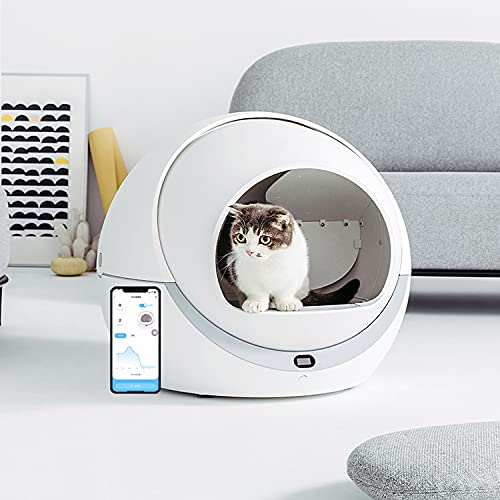 Fully Automatic Self Cleaning Closed Cat Litter Box Large Enclosed Cats Toilet Automatic Kitten Sandbox Rotary Cleaning Cat Robot Liter Large Kitty self Cleaning Litter Box Remote Control