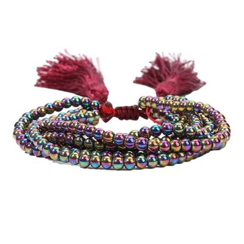 Pulseras para mujeres, pulsera de múltiples capas, brazalete de cuerdas de material de cristal, joyería de la mano de cristal de la moda de la moda