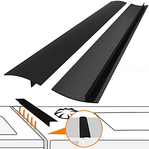 Kitchen Silicone Stove Counter Gap Cover with Heat Resistant Wide & Long Gap Filler Used for Protect Gap Filler Sealing Spills in Kitchen Counter  Stovetops(2 Pack  Black,21 Inch)