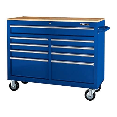 46 In. 9-Drawer Mobile Storage Cabinet With Solid Wood Top - Blue Workbench