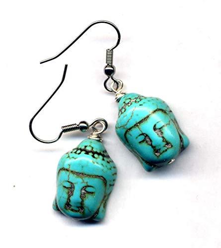 Buddha Earrings, Surgical Steel Earrings, LAST ONE, Turquoise Earrings, Stainless Steel Buddhist Earrings, Yoga Jewelry by annaart72