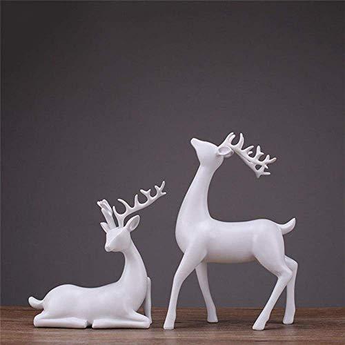 POETRY Décoration de la Maison Artisanat 2 Pcs Cerf Statue Sculpture Style...