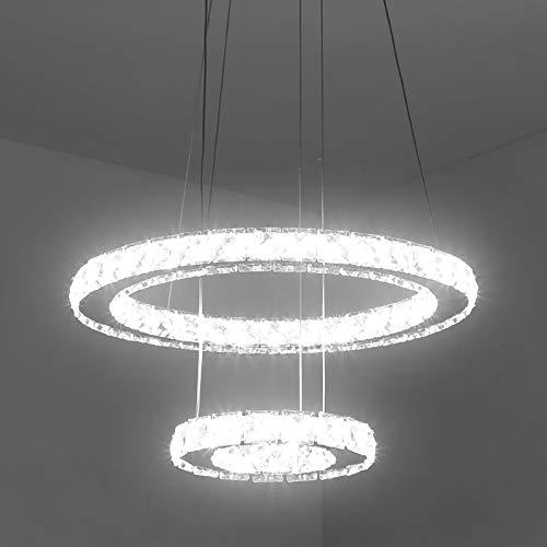 lampadario a sospensione 100w Temgin Lampadario di cristallo LED 2 anelli (40 cm + 20 cm) Lampada a sospensione 36 W Altezza regolabile Lampada da soffitto moderna per sala da pranzo Cucina Corridoio Bianco freddo