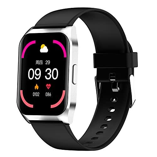 QFSLR Reloj Inteligente Mujer Hombre, Smartwatch con Llamada Bluetooth Monitor De Frecuencia Cardíaca Monitor De Presión Arterial Monitoreo De Oxígeno En Sangre,Plata