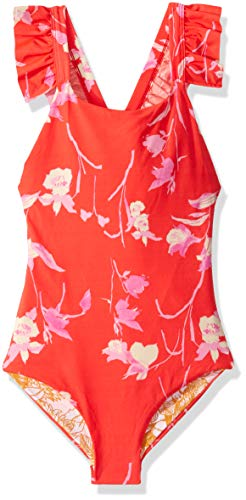 Maaji Girl's One Piece with Cross Back Ruffle Trim Straps Swimsuit, Lovely Buffy Red Floral, 14