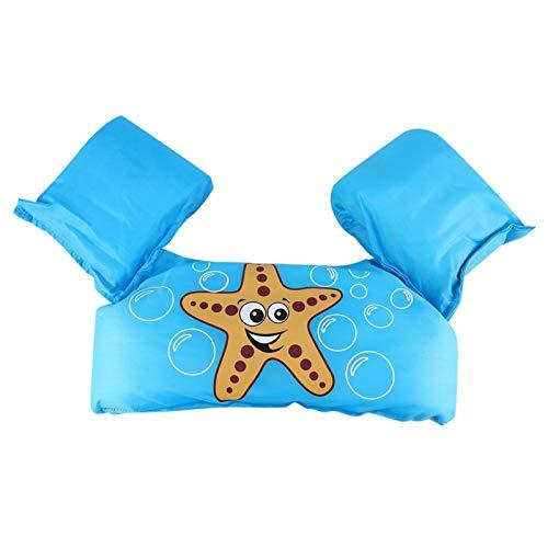 Chaleco de Traje de baño para niños Mangas flotantes Patrón de Estrella de mar Niños Niños Chaleco de Entrenamiento de natación de Seguridad Inflable para Parques acuáticos