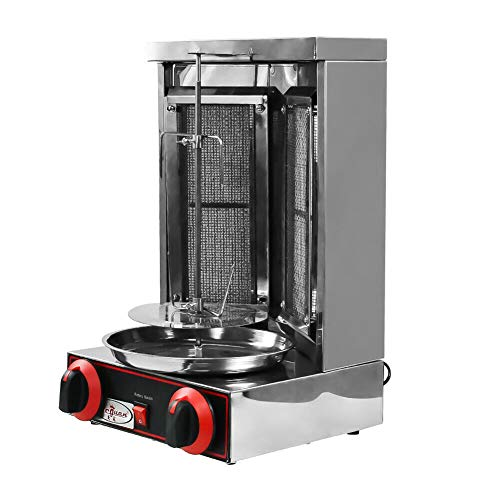 110V Shawarma Doner Kebab Machine Gyro Grill with 2 Gas Burner Automatic Vertical Broiler for Commercial home Kitchen