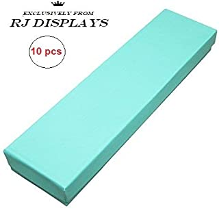 """10 Pack Teal Blue Robin Egg Blue Color Cotton Filled Boxes Jewelry Bracelet, Watches, Necklace and Anklet Gift Displays 8"""" x 2"""" By RJ Displays"""