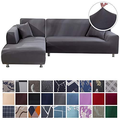 SearchI Fundas Sofa Elasticas Chaise Longue,Extraíbles y Lavables,Moderno Cubre Sofa Chaise Longue Universal Fundas Protectora para Sofa contra Polvo en Forma de L 2 Piezas(Gris,3 Plazas+3 Plazas)