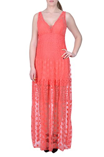 DESIGUAL - Damen lange armellos kleid miravet 44 (xl) koralle