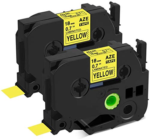 Colorty Compatible Label Tape Replacement for Brother Ptouch TZe-641 Black on Yellow 18mm 3/4 Inch TZe641 TZ-641 TZ641 Laminated for P Touch PT-1890 PT-D600 PT-P700 Label Maker, 0.7 Inch x 26.2 Feet
