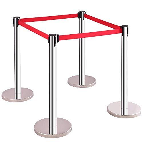 Bakaji Juego de 4 columnas de señalización con cinta de 2 m, color rojo, colador de columna, poste de acero, señalización de fila, separador de coda, base redonda,altura 90 cm, color cromo