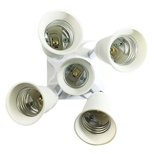 BE YOU TIFUL Divisor de Enchufe de luz, Conversión Universal 4 en 1 Divisor de Enchufe de luz Adaptador convertidor de múltiples Bombillas para Bombillas LED Lámpara de extensión de 360 Grados