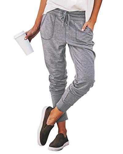 Eledobby Pantalones de Chándal para Mujer Casuales con Bolsillos Pantalones de Tubo para Mujer Pantalones Deportivos de Cintura Alta Pantalones de Salón Color Sólido Gris...