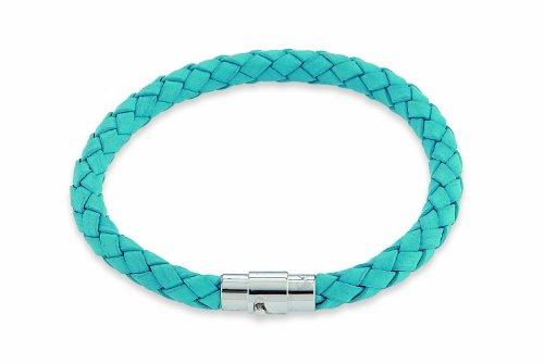 Leder Schmuck (Armband) Leder Armband geflochten Farbe türkis Größe ca. 21 cm Edelstahl Magnetverschluss Modellnummer 4205