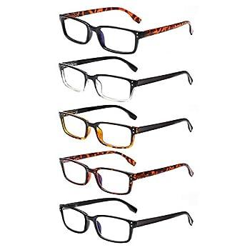 Computer Reading Glasses 5 Pack Blue Light Blocking Glasses Anti Eyestrain Flexible Readers for Women Men  Multicolor 0.75
