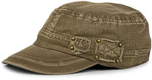 styleBREAKER Gorra Militar en Apariencia gastada, Vintage, Ajustable, Unisex 04023011, Color:Verde Oliva-Marrón