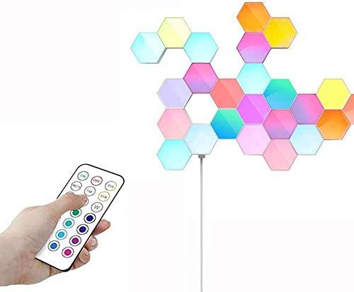 Touch-Sensitive Wandleuchte, 1×3W LED Panels Nachtlicht Weiß, DIY Design Innen Wandlampe RGB Dimmbar mit Fernbedienung, Modular LED-Licht kreative Wandlicht, Modern Dekorativ Lampen (6 Stück+Netzteil)