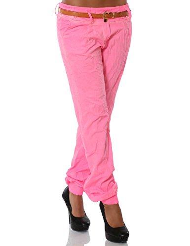 Damen Chino Pumphose inkl. Gürtel No 13312 Pink XL / 42