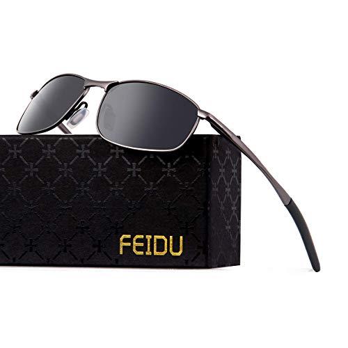 FEIDU Sportbrille Sonnenbrille Herren Polarisierte-HD Lens Metal Frame Driving Shades FD 9005 (1-Ein Schwarz/Gun, 57)