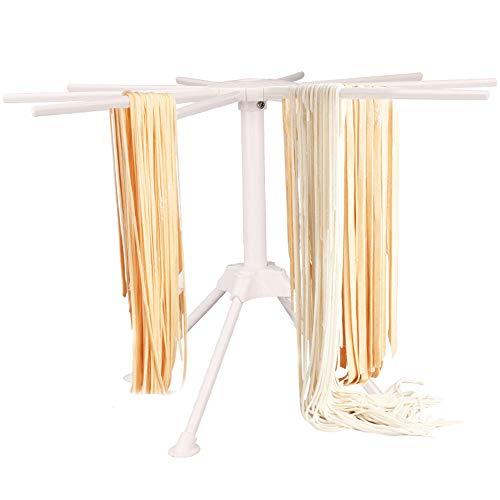 Nudeltrocknerständer, zusammenklappbar, für Pasta, Spaghetti-Trockner, Ständer faltbar, für Küche, Nudel, Hängeregal mit 10 Griffen 28 * 17cm weiß