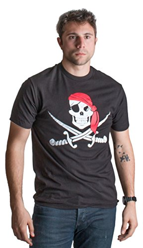 Jolly Roger Pirate Flag | Skull & Crossbones Caribbean Cruise Costume Unisex T-Shirt-(Adult,L) Black