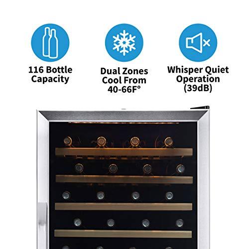 NewAir Wine Cooler Built In Dual Temperature Zone 160 Bottle Chiller,...