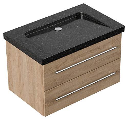 Mueble de baño granito Galaxy Black Damo 75cm sin agujero para grifo Roble claro