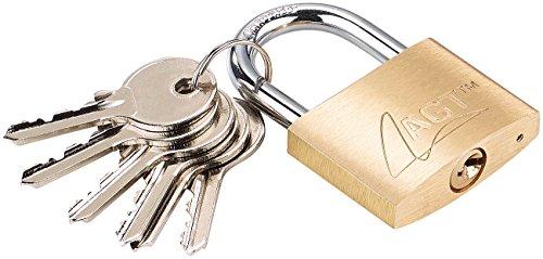 AGT Bügelschloss: Vorhänge-Schloss aus Messing, 43 mm, 6 Schlüssel (Schloss mit Zusatzschlüssel)
