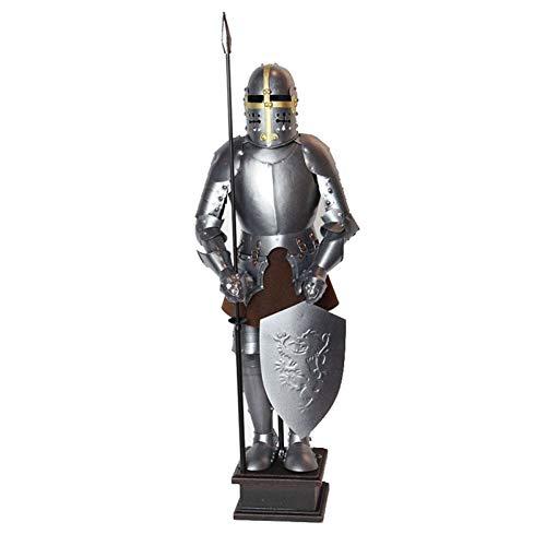 Medieval Cruzado Guerrero Pequeño Caballero Armadura Estatuilla Metal Hierro Fundido Estatua Bar Comida Occidental Oficina Sala De Estar Estudio Decoración De Escritorio - Estilo Industrial