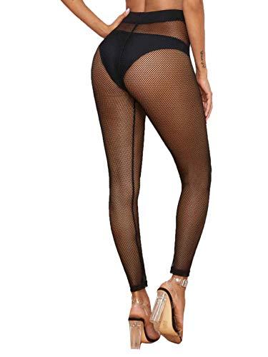 SweatyRocks Women's Tie Front Waist Sheer Fishnet Mesh Skinny Leggings Pants Black S