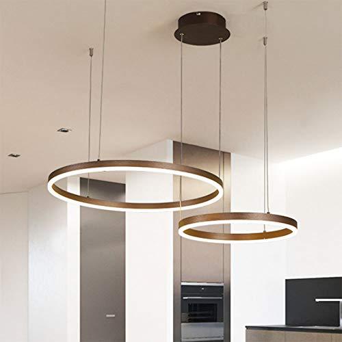 Rund 41W LED Kronleuchter Pendelleuchte 2-Ring Dimmbar Deckenleuchte Hängeleuchte Gold Aluminium und Acryl Höhenverstellbar Wohnzimmer Esszimmer Esstisch Küchen Bar Theke Pendellampe,40+60CM
