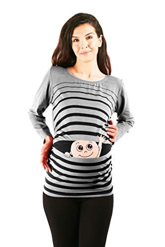 M.M.C. Ciao Ciao - Premaman Abbigliamento Donna Magliette Premaman T-Shirt Divertente Gravidanza - Maniche Lunghe maternità (Grigio, Medium)