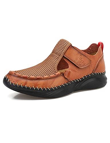 Jueshanzj - Sandali da uomo in rete traspirante con velcro, design casual, scarpe alla moda, scarpe da esterno di grandi dimensioni, Marrone, 38 2/3 EU